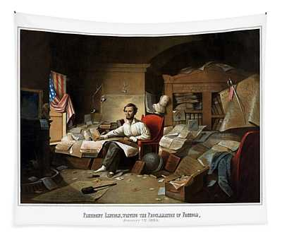 Lincoln Writing The Emancipation Proclamation Tapestry