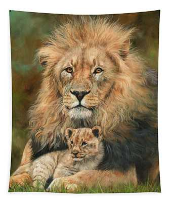 Lion And Cub Tapestry