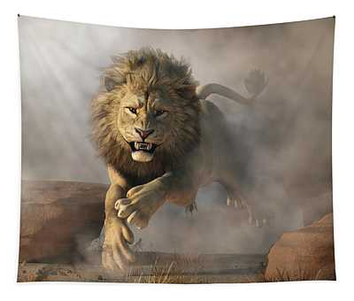 Lion Attack Tapestry