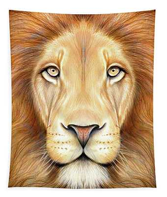 Lion Head In Color Tapestry