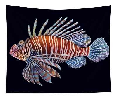 Lionfish In Black Tapestry