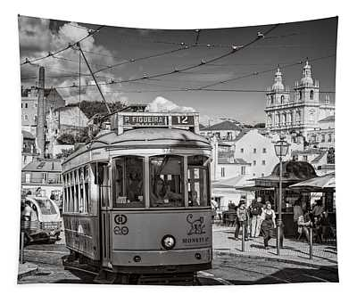 Lisbon Tram Bw Tapestry