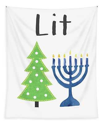 Lit Christmas And Hanukkah- Art By Linda Woods Tapestry