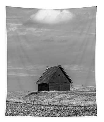 Little Barn At The Top Of The Hill In Black And White Tapestry
