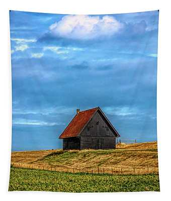 Little Barn At The Top Of The Hill In Hdr Detail Tapestry