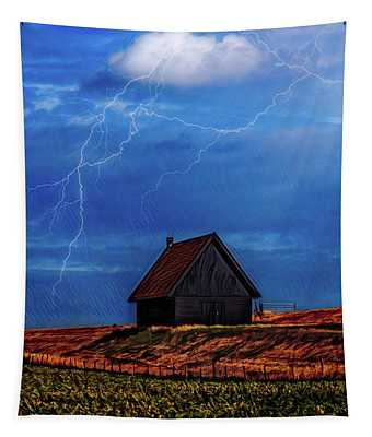 Little Barn At The Top Of The Hill On A Stormy Night Tapestry