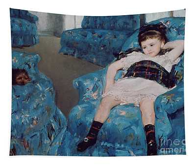 Little Girl In A Blue Armchair Tapestry