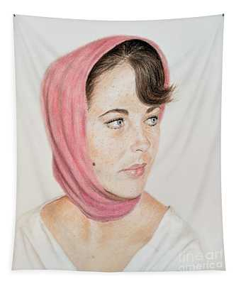 Liz Taylor Wearing A Scarf Tapestry