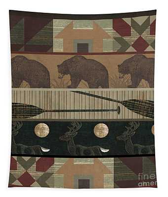 Lodge Cabin Quilt Tapestry