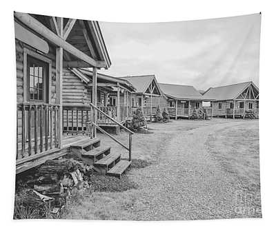 Log Cabins Black And White Charcoal Tapestry