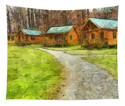 Log Cabins Pencil Tapestry