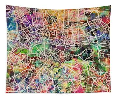 London Map Art Watercolor Tapestry