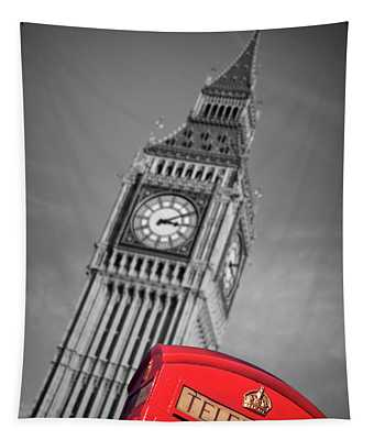 London Phone Booth And Big Ben Tapestry