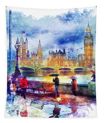 London Rain Watercolor Tapestry