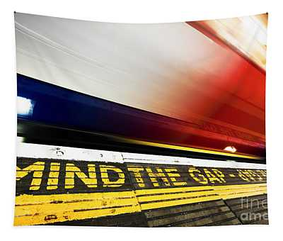 London Underground. Mind The Gap Sign, Train In Motion Tapestry