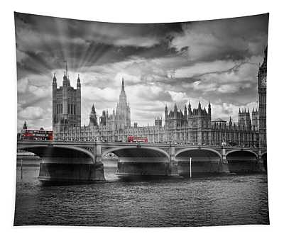 London Westminster Bridge And Red Busses Tapestry