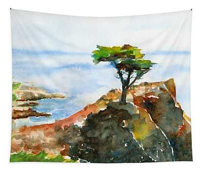 Lone Cypress Pebble Beach Fog Tapestry