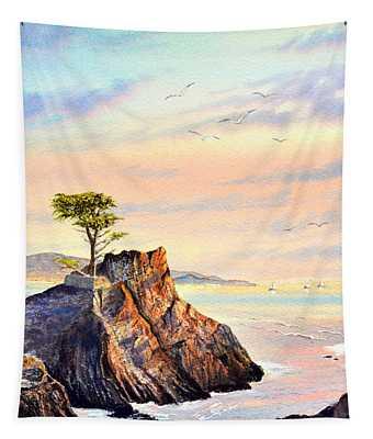 Lone Cypress Tree Pebble Beach Tapestry