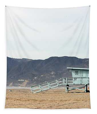Lone Lifeguard Tower Tapestry