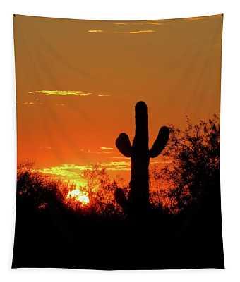 Lone Saguaro Sunrise Tapestry