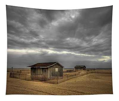 Lonely Beach Shacks Tapestry