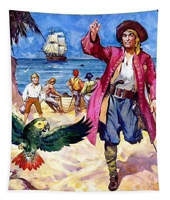 Long John Silver And His Parrot Tapestry