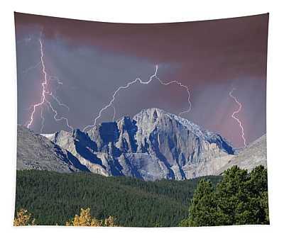 Longs Peak Lightning Storm Fine Art Photography Print Tapestry
