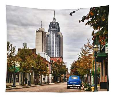 Looking Down Dauphin Street And The Blue Truck Tapestry