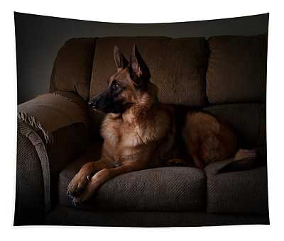 Looking Out The Window - German Shepherd Dog Tapestry