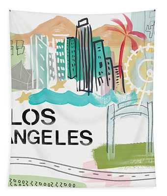 Los Angeles Cityscape- Art By Linda Woods Tapestry