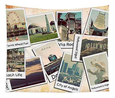 Los Angeles Polaroid Collage Tapestry