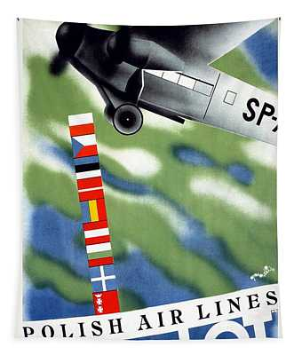 Lot Polish Airlines, Poland - Flags Of The Countries - Retro Travel Poster - Vintage Poster Tapestry