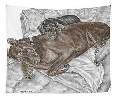 Lounge Lizards - Doberman Pinscher Puppy Print Color Tinted Tapestry