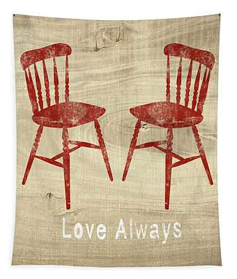 Love Always Red Chairs- Art By Linda Woods Tapestry