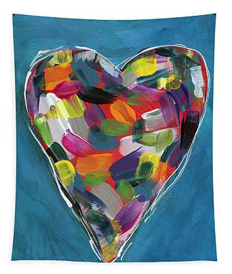 Love Is Colorful In Blue- Art By Linda Woods Tapestry
