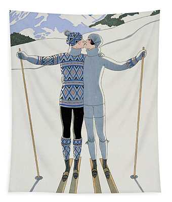 Lovers In The Snow Tapestry
