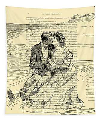 Loving Couple By The Sea Tapestry