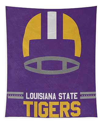 Lsu Tigers Vintage Football Art Tapestry