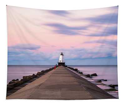 Ludington North Breakwater Light Sunrise Tapestry