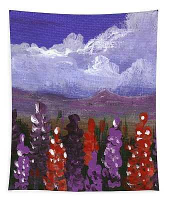 Tapestry featuring the painting Lupine Land #1 by Anastasiya Malakhova