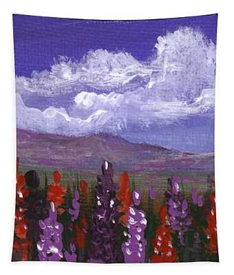 Tapestry featuring the painting Lupine Land #3 by Anastasiya Malakhova