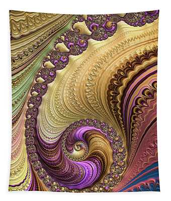 Luxe Colorful Fractal Spiral Tapestry