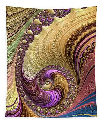 Tapestry featuring the digital art Luxe Colorful Fractal Spiral by Matthias Hauser