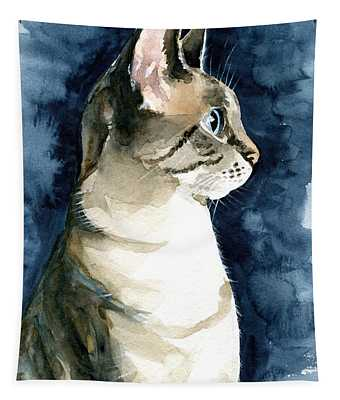 Lynx Point Cat Portrait Tapestry