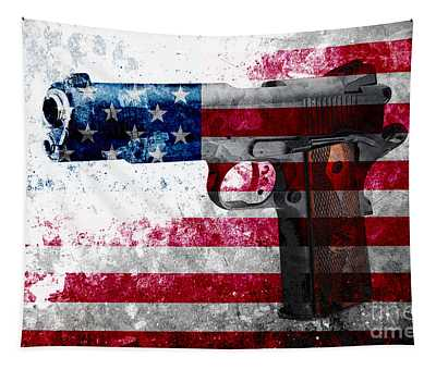 M1911 Colt 45 And American Flag On Distressed Metal Sheet Tapestry