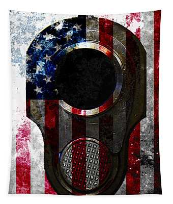 M1911 Colt 45 Muzzle And American Flag On Distressed Metal Sheet Tapestry