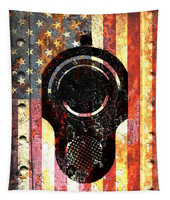 M1911 Colt 45 On Rusted American Flag Tapestry