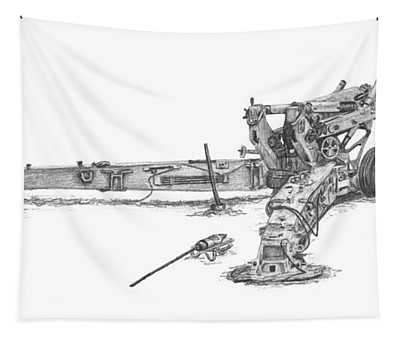 M198 Howitzer - Natural Sized Prints Tapestry