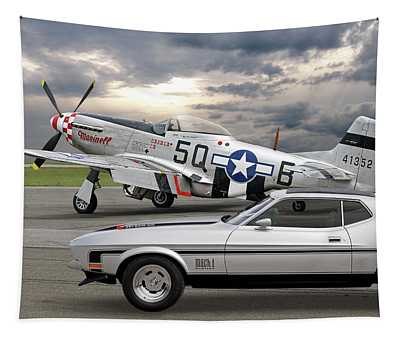 Mach 1 Mustang With P51  Tapestry