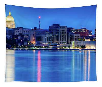Madison Skyline Reflection Tapestry